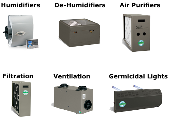 Humidifiers, dehumidifiers, air purifiers, air filters